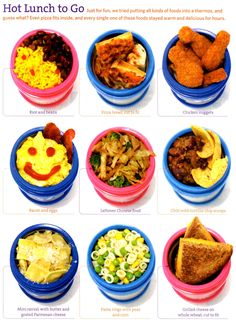 Hot lunch ideas for kids. Going to start using the thermos more for the girls lunch.