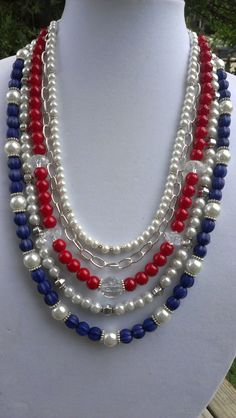 RED WHITE BLUE Necklace for your 4th of July by jewelMom1965, $43.00