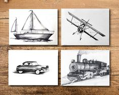 Get ready to travel the world with these unique transportation art prints. Set includes one plane, one train and one boat print in black and white. --Details--- ART : - Set of 4 prints - Original drawings were drawn by me in pencil - Drawings were digitized for prints - Printed on beautiful thick white paper - Listing is for prints only no frame or matte included SIZE : - Print is 4x6, 5x7, 8x10 or 11x14 - Please message me for other sizing options PERSONALIZATION : - Select add a name…