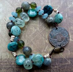 Etched copper focal- Round Rabbit Extra Cuprite coins Prehnite nuggets Etched glass rounds Matte ivory peanut seed beads Hemimorphite