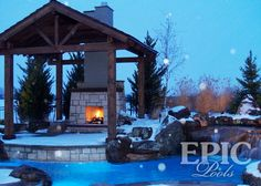 pool, fireplace, and a covered patio to keep off the snow in the winter and sun in the summer!
