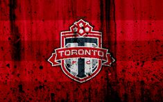 Download wallpapers 4k, FC Toronto, grunge, MLS, art, Eastern Conference, football club, USA, Toronto, soccer, stone texture, logo, Toronto FC
