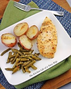 Baked Chicken, Green Beans and Potatoes-8-10 red potatoes,  2 cups cut green beans, 1 lb chicken breasts, 1 stick butter, 1 package Italian dressing mix.  Bake at 350 for 1 hour in a covered dish.