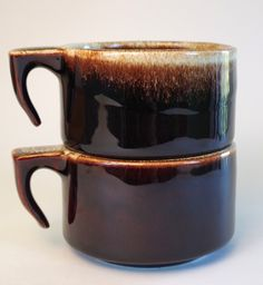 Pair of Vintage Pfaltzgraff Brown Drip Ware Ombre Mugs with Open Handles by retrowarehouse on Etsy