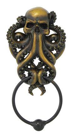bathroom decoration items Decorative Octopus Skull Monster Resin Door Knocker with Cast Iron Knocker Wall Sculpture - Door Knobs And Knockers, Door Knockers Unique, Design Exterior, Interior Design, Interior Ideas, Unique Doors, Gothic House, Gothic Mansion, Barn Door Hardware