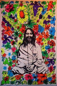 electripipedream:    Maharishi Mahesh Yogi blacklight poster 1967