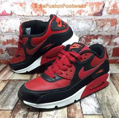 3699952e8e Nike Air Max 90 Ltr GS Red Black Bred Youth Girls Boys Running Shoes 724821- 601 UK 5.5 for sale online   eBay