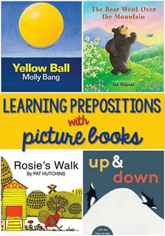 Teaching Prepositions with Picture Books – Pre-K Pages Picture Books to Teach Prepositions. A list of the best books to teach your preschool and kindergarten kids prepositions. Preposition Pictures, Preposition Activities, Language Activities, Book Activities, Vocabulary Activities, Activity Ideas, Preschool Literacy, Preschool Books, Kindergarten Classroom