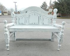Made from an old headboard and footboard!Come to Safari Thrift in Aurora CO for all your DIY project needs. Diy Furniture Projects, Furniture Styles, Upcycled Furniture, Furniture Making, Painted Furniture, Furniture Refinishing, Wood Projects, Headboard Benches, Bed Bench