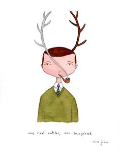 """one real antler, one imagined"" by Marc Johns."