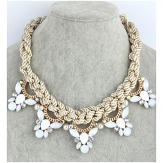 Rope Collar Necklace With Stone Pendants (203.360 IDR) ❤ liked on Polyvore featuring jewelry, necklaces, beige, stone jewelry, twisted necklace, pendants & necklaces, stone necklace e stone pendant