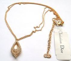 Signed Christian Dior Necklace Gold Plated with Pearl & Crystal Pendant New