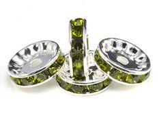 rhinestone copper spacer bead, silver plated,  peridot rhinestone, 6-12mm, crystal bead, craft supplies, jewelry making--100pcs #metalbeads #stonebeads