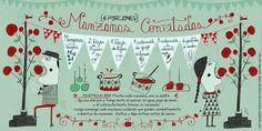 Cositas Ricas Ilustradas por Pati Aguilera: Manzanas Confitadas Chilean Recipes, Chilean Food, Sweet Recipes, Healthy Recipes, Vintage Drawing, Food Illustrations, Stevia, Food Art, Food And Drink