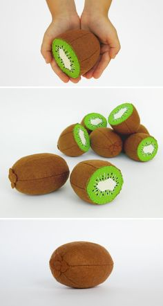 Felt play food Kiwi 1 whole and 1 half by MyFruit I suggest you to buy realistic stuffed toys, made of felt for your little ones. For playing the Garden Harvest Kitchen Shop etc.  Attention! You SAVE 10% - if you buy 1 whole Kiwi and 1 half Kiwi in one order!  —————————————————————  ♥ unique design, are just like real ♥ small (2,3 in) and light (0,3 oz) ♥ safe for your children - do not contain plastic, glue and wire  The most popular items in my store that you might be interested in: ❀…