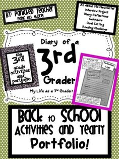 Back to School! Diary of a 3rd Grader: My School Year Portfolio starts the year off right with some ALL ABOUT ME activities. They include:*All Ab...