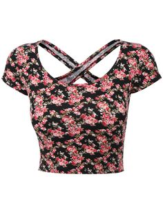 Womens Lightweight Open Back Scoop Neck Floral Crop Top with Stretch