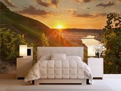 Photo wallpaper bedrooms mountains sunset