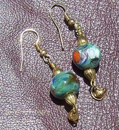 Earrings  Lampwork Beads & Gold  Handmade by by JewelryArtistry, $25.00