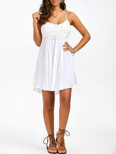 Crochet Trim Halter Dress in White XL