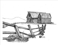"""Print, Pen and Ink Drawing of Two Barns, The Lonesome Couple, 81/2"""" X 11"""""""