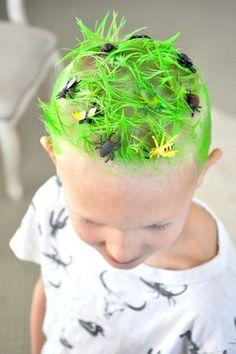 Crazy Hair Day Ideas- Green Grass & Bugs! Red Ribbon Week Ideas via Kara's Party Ideas.