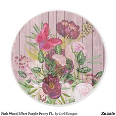 Pink Wood Effect Purple Peony Floral Bouquet Ceramic Knob
