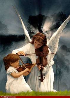 Angel teaching a child to play the Violin ~ Lovely Entertaining Angels, I Believe In Angels, Ange Demon, Prophetic Art, Angel Pictures, Angel Images, Angels Among Us, Angels In Heaven, Precious Children