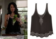 Wendy Beauchamp (Madchen Amick) wore this black silk tank with laser-cut eyelets in an episode of Witches of East End.