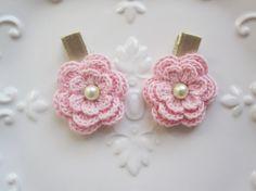 Light Pink Crochet Flower Hair Clip  Baby Hair by yaeldesigns1, $5.00