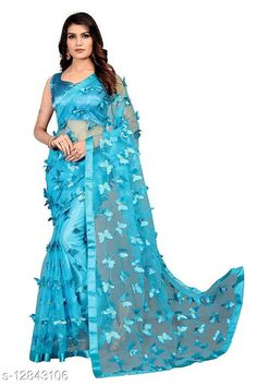 Sarees ButterFly Saree For Woman Saree Fabric: Net Blouse: Running Blouse Blouse Fabric: Art Silk Pattern: Self-Design Blouse Pattern: Solid Multipack: Single Sizes:  Free Size (Saree Length Size: 5.5 m, Blouse Length Size: 0.8 m)  Country of Origin: India Sizes Available: Free Size   Catalog Rating: ★4 (486)  Catalog Name: Adrika Alluring Sarees CatalogID_2493885 C74-SC1004 Code: 884-12843106-