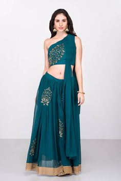 f8c685e36a92f India s largest fashion rental service. Rent BASVI BHALLA - Bottle Green Embroidered  Crop Top And Skirt