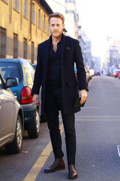 Men's Black Overcoat, Black Polo, Black Dress Pants, Dark Brown Leather Chelsea Boots