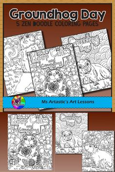 Happy Groundhog Day! Did he see his shadow? Enjoy 5 Groundhog Day zentangle coloring pages in your classroom that allow for educational, mindful coloring in your classroom. All coloring pages are hand drawn by Ms Artastic with love and care.