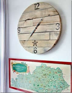 Simply attach clock hands to a pallet base and stencil on numbers to DIY this cute clock. Bonus: It costs less than $10 to make! Get the tutorial at Thistlewood Farms.   - CountryLiving.com
