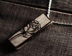 Wood Burned Pendant Necklace.  Buy wooden jewelry and burn.