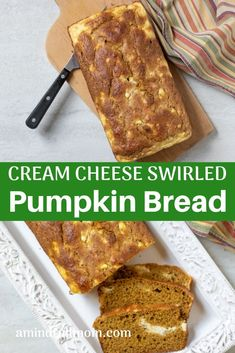 Healthy Pumpkin Cream Cheese Bread: Tender, naturally sweetened pumpkin bread is baked up with a cream cheese swirl for a perfect fall quick bread recipe. #amindfullmom #pumpkinbread #pumpkin #fall #quickbread #naturallysweetened #healthy Quick Bread Recipes, Baking Recipes, Whole Food Recipes, Baking Tips, Pumpkin Cream Cheese Bread, Healthy Pumpkin Bread, Pumpkin Recipes, Fall Recipes, Thanksgiving Recipes