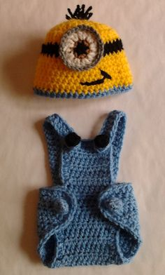 Adorable Minion Hat and Overalls Crochet Photo Prop. This makes me wanna have another baby guy! So cute!!!