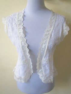 Spring / Summer Fashion: white doily and lace open vest by VintageHomage on Etsy, $15.00