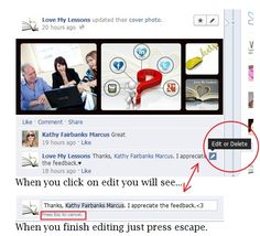 Did you make a comment on Facebook and then realize you had a typo? Now you can edit it instead of deleting it and starting all over again.  www.facebook.com/lmlessons