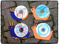 bricolage escargot avec cd musique, insecte, automne, enfant