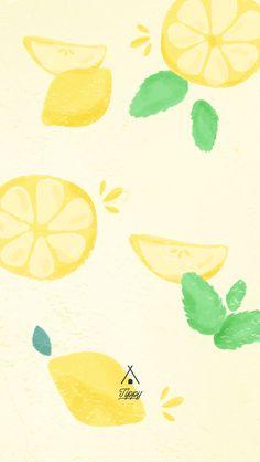 Watercolor Summer Lemon iPhone Wallpaper Lock Screen @PanPins