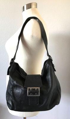 BANANA REPUBLIC-Pebbled Leather Black Shoulder Bag-PurseHandbag-Buckle & Flap #BananaRepublic #ShoulderBag
