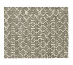 Scroll Tile Rug - Gray #potterybarn; Put in both dining room and living room to tie the rooms together and add a modern, graphic pattern