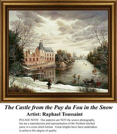 The Castle from the Puy du Fou in the Snow,Vintage Counted Cross Stitch Pattern. Kit and Digital Download Also Available #crossstitch #123stitch #nostalgiacrossstitchpatterns