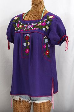 """La Antiguita"" Embroidered Mexican Style Peasant Blouse - Purple"