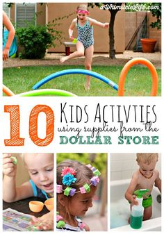 What do you do with those finds at the Dollar store?  Have the most incredible fun of course!  This post lists 10 kids activities using only dollar store supplies.