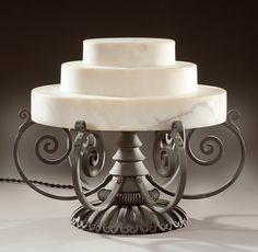 PAUL FOLLOT, attribution, Art Deco iron lamp with an alabaster stepped shade. c. 1920-1925. H: 28cm Diam: 33cm