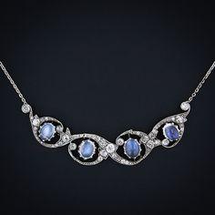Antique Moonstone and Diamond Necklace Circa 1885