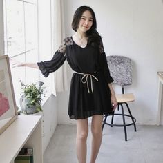 Korean Dress Black Korean Fashion Dress, Korean Dress, Fashion Dresses, Dress Black, Elegant, Formal, Casual, Clothes, Fashion Show Dresses